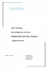 Moderations Zertifikat, Jens Torberg