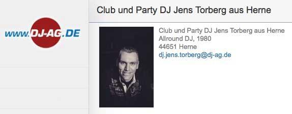 DJ Jens Torberg, buchen über die DJ-AG